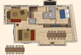 Vakantiepark Loonsche Land accommodaties - Boshoeve 12 persoons - plattegrond
