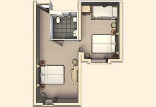 Vakantiepark Loonsche Land Hotel - Aangepaste rolstoelvriendelijke Hotelkamer 6 personen - plattegrond